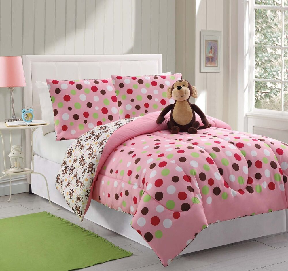 3 piece teen kids comforter set twin pink polka dots sham furry friend monkey ebay. Black Bedroom Furniture Sets. Home Design Ideas