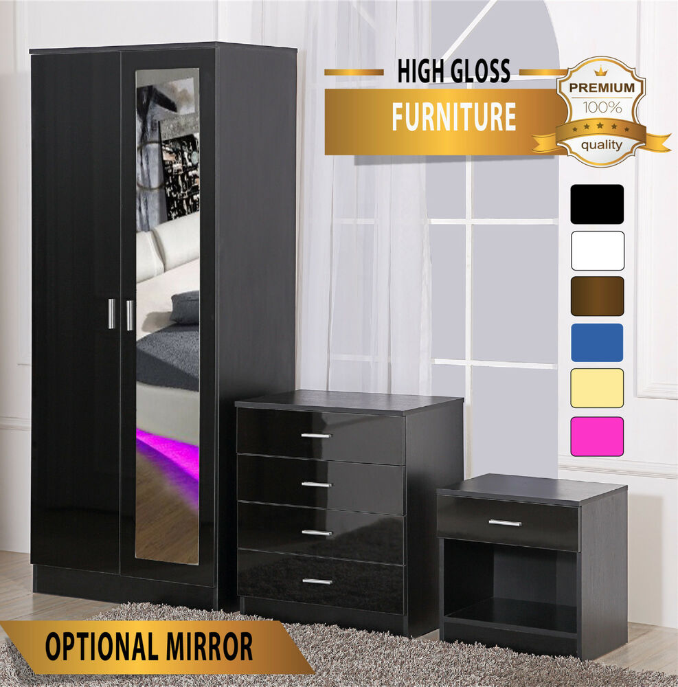 high gloss 3 piece bedroom furniture set wardrobe chest bedside
