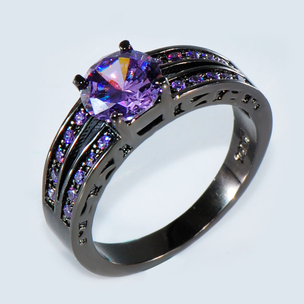 size 6 10 purple amethyst cz wedding ring 10kt black gold. Black Bedroom Furniture Sets. Home Design Ideas