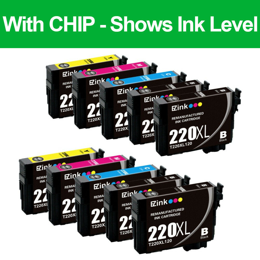 10PK Remanufactured 220XL 220 XL Ink Cartridges For Epson