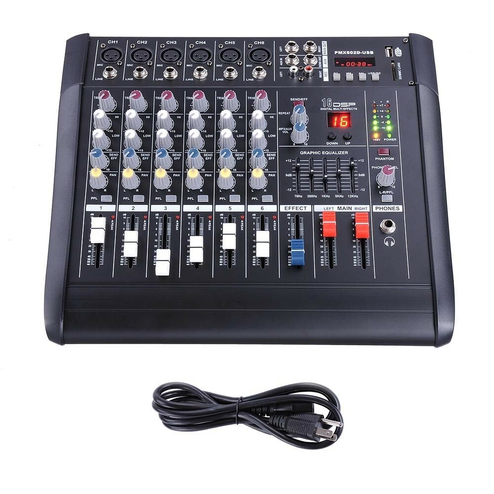 6 channel professional powered mixer power mixing amplifier w usb slot amp 16dsp 657258007499 ebay. Black Bedroom Furniture Sets. Home Design Ideas