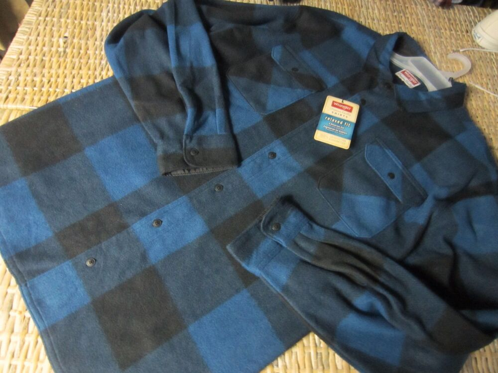 new wrangler blue buffalo plaid fleece flannel shirt. Black Bedroom Furniture Sets. Home Design Ideas