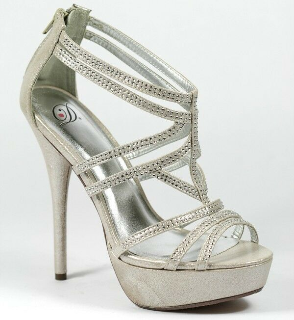 silver beige shimmer rhinestone jeweled high heel strappy
