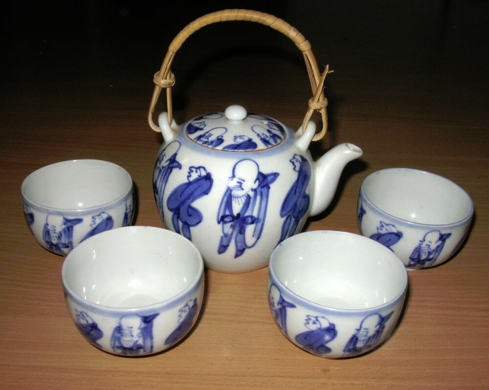 asian teapot set bamboo handle 4 cups people decoration ebay. Black Bedroom Furniture Sets. Home Design Ideas