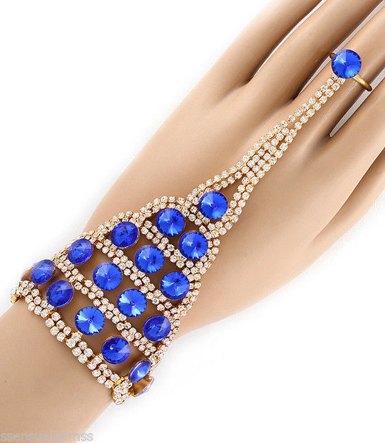 cobalt blue ring bracelet attached s gold