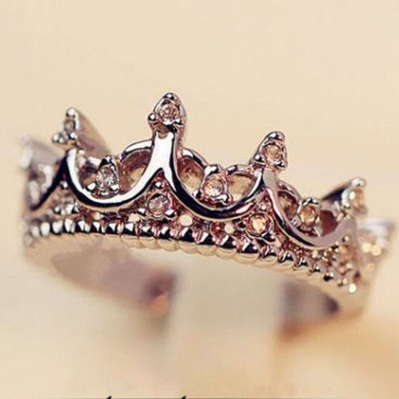 Fashion Princess Women Silver Rhinestone Crown Ring Size 7