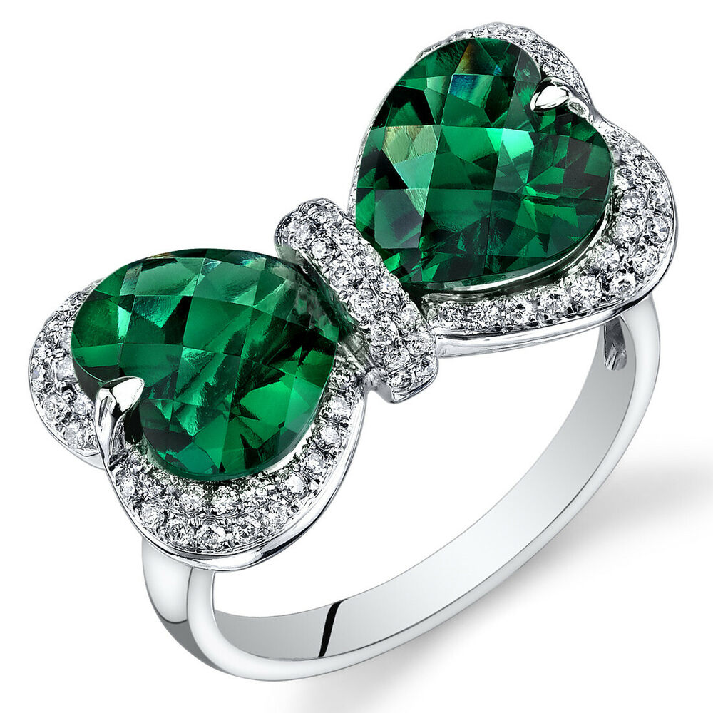 14 kt white gold 4 7 cts emerald and diamond ring r61618. Black Bedroom Furniture Sets. Home Design Ideas