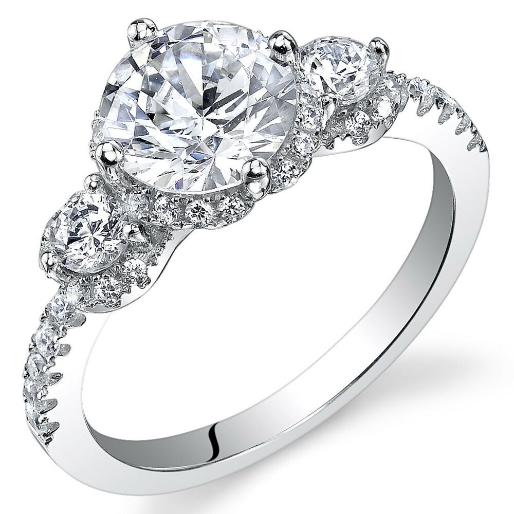sterling silver round white cubic zirconia ring ebay