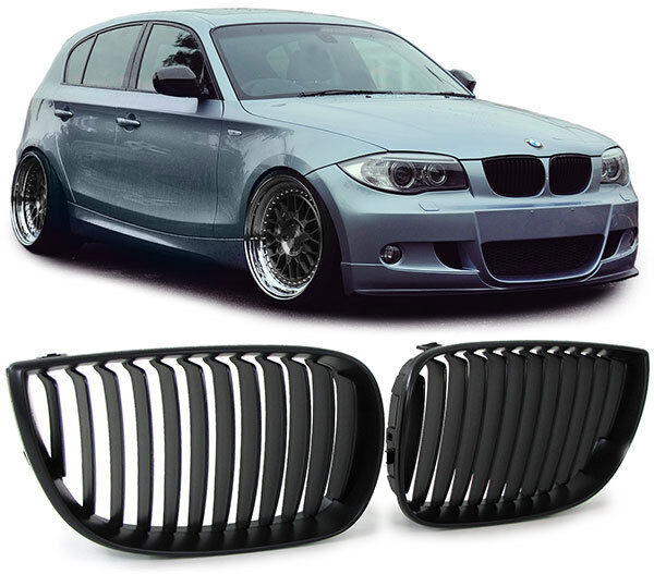 front grills black for bmw e81 e87 04 07 series 1 spoiler. Black Bedroom Furniture Sets. Home Design Ideas