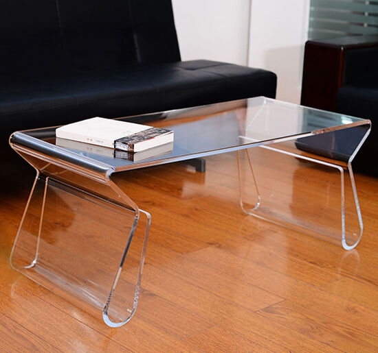 HOMCOM Transparent Acrylic Coffee End Table With Magazine