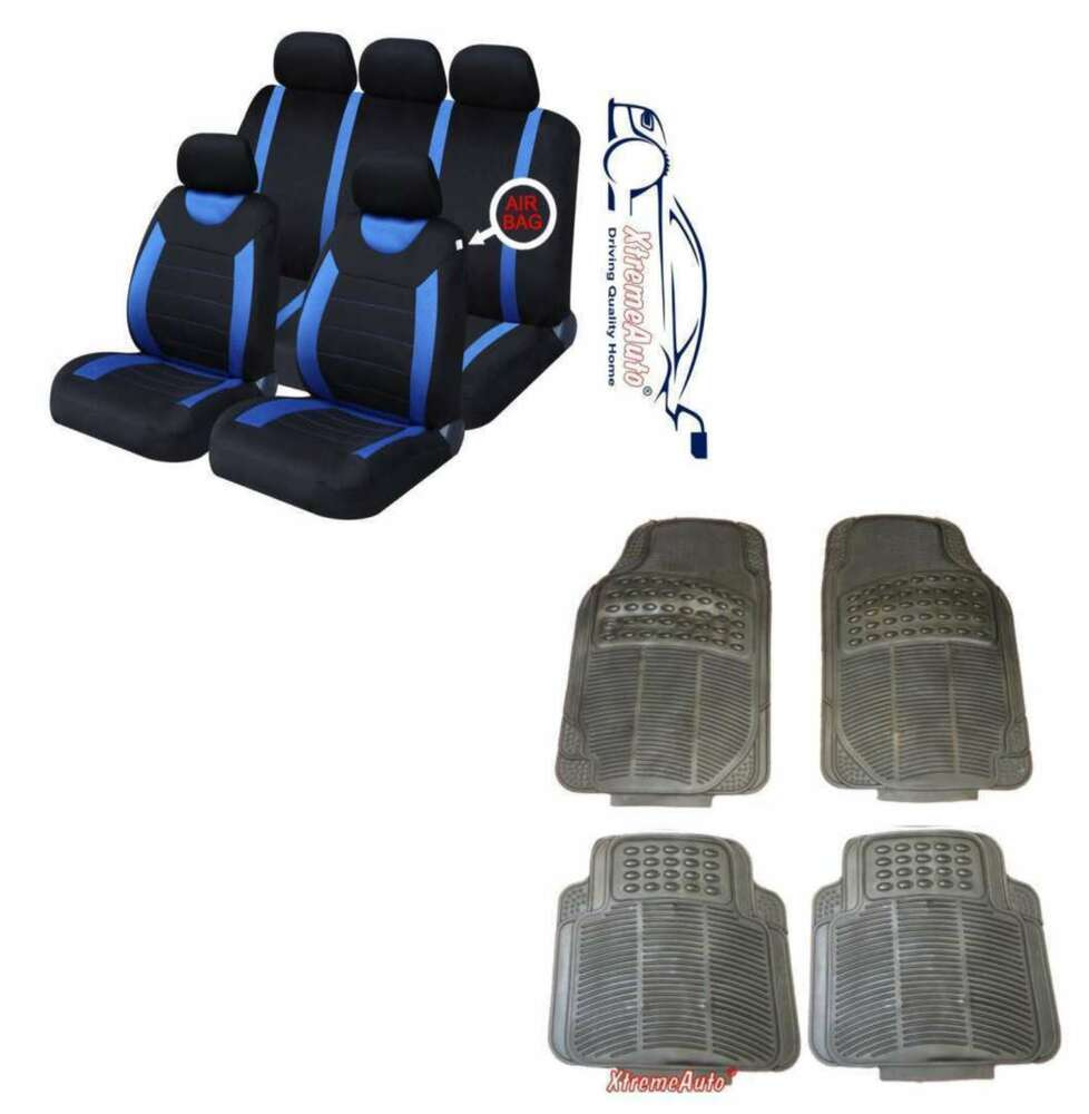 CARNABY BLUE CAR SEAT COVERS + RUBBER FLOOR MATS Peugeot