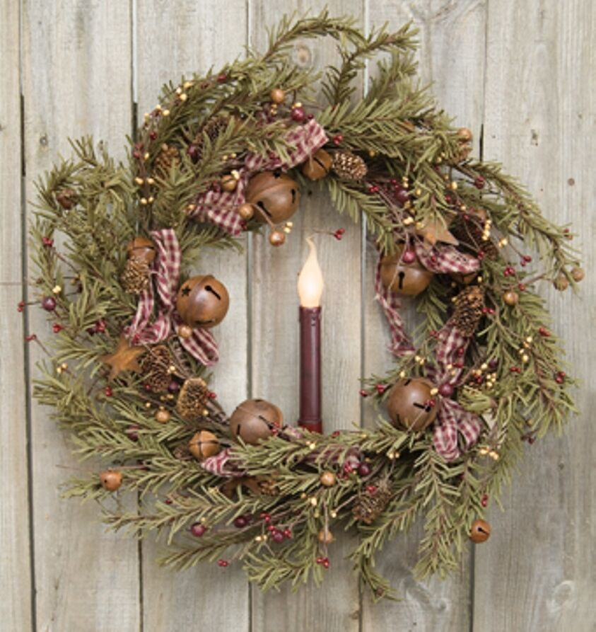 "RUSTIC HOLIDAY PINE WREATH APPROX 22"" PINE CONES RUSTY"