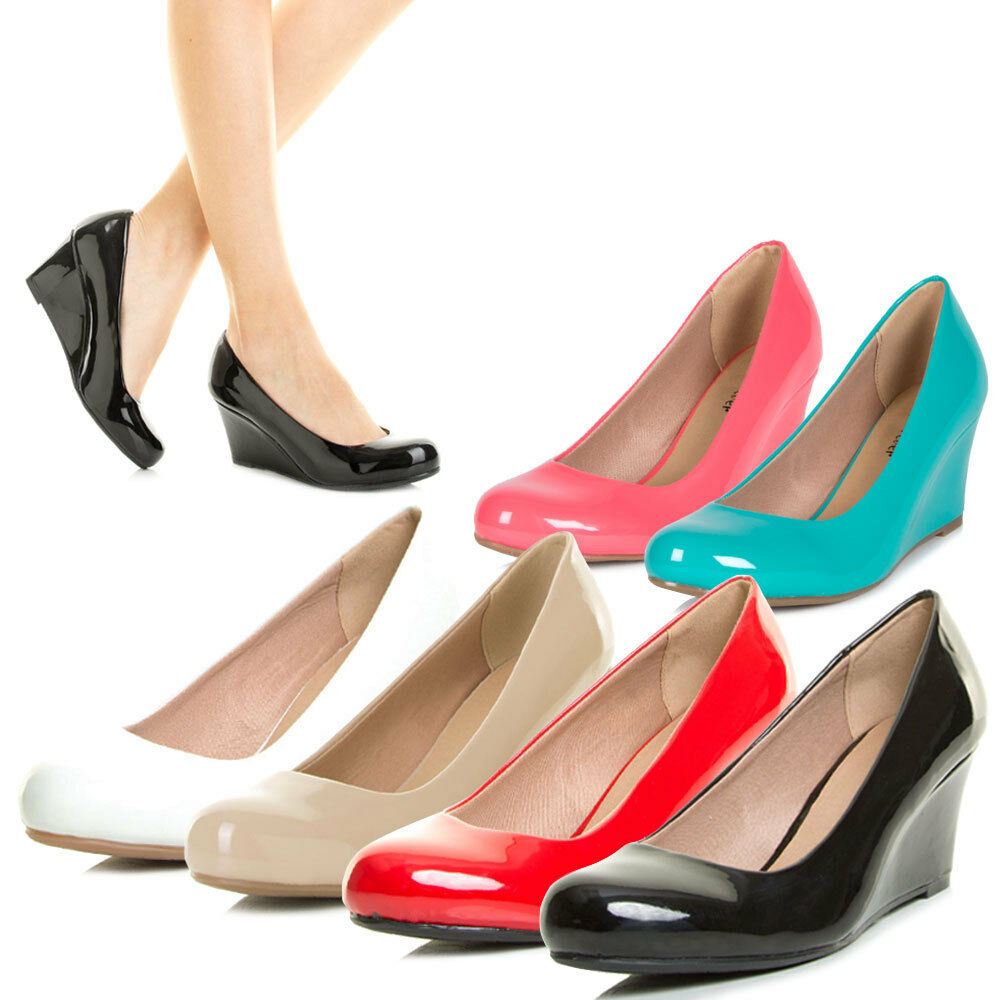 New Womens Classic Wedge Pump Sandal Shoes Round Closed ...