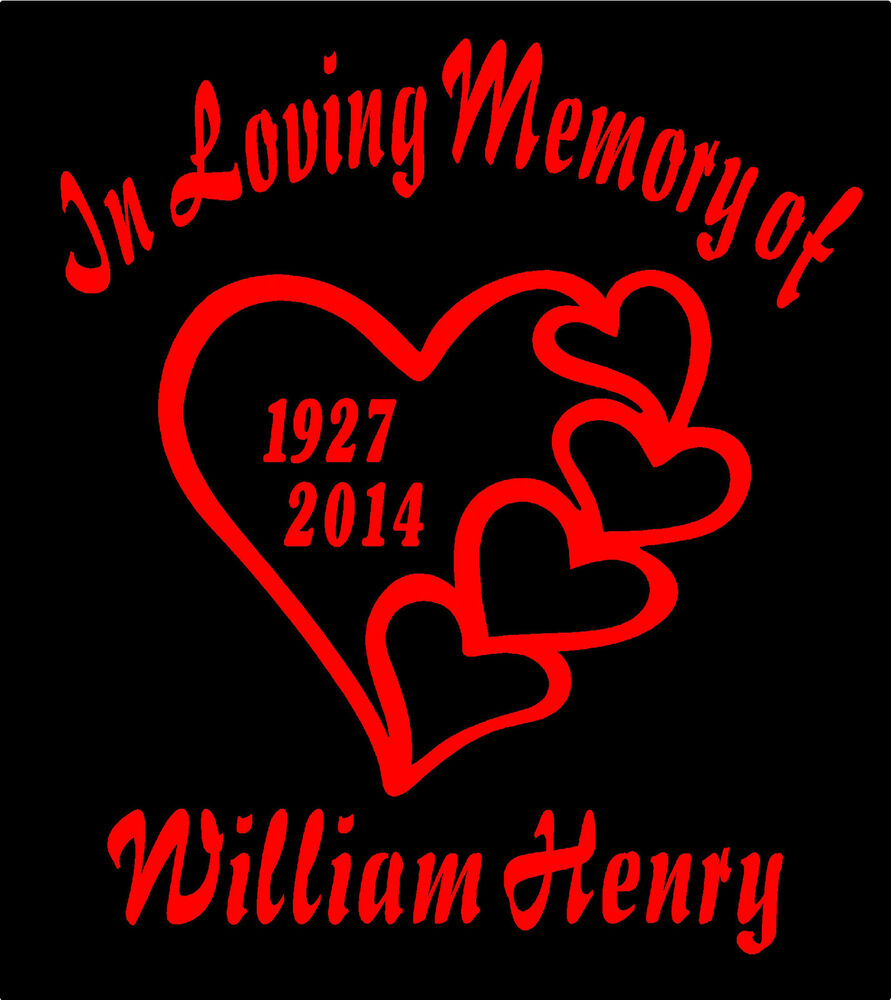 Two In Loving Memory Of Decals with Hearts Car Window ... In Loving Memory Graphics