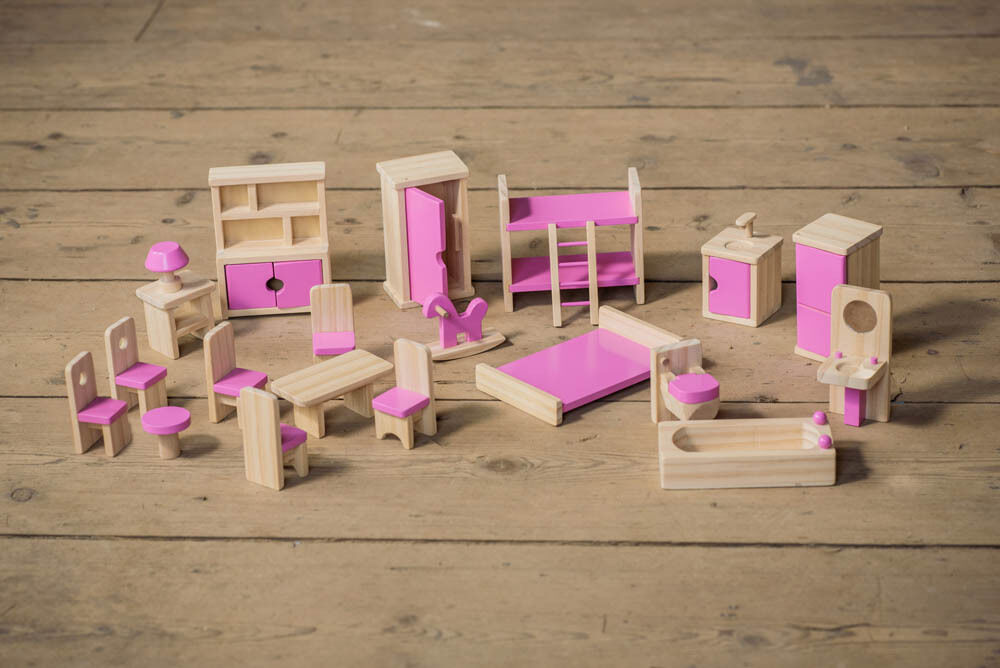 Children 39 S Wooden Dolls House Furniture Set With Pink Details For Age 3 Ebay