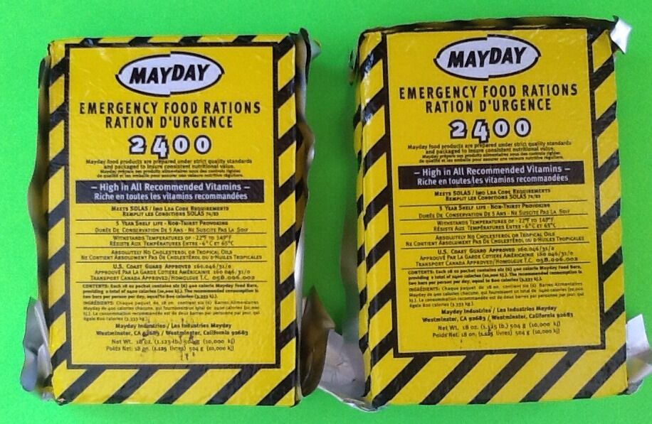 Lot of 2 mayday 2400 calorie survival emergency food bar for Food bar emergency