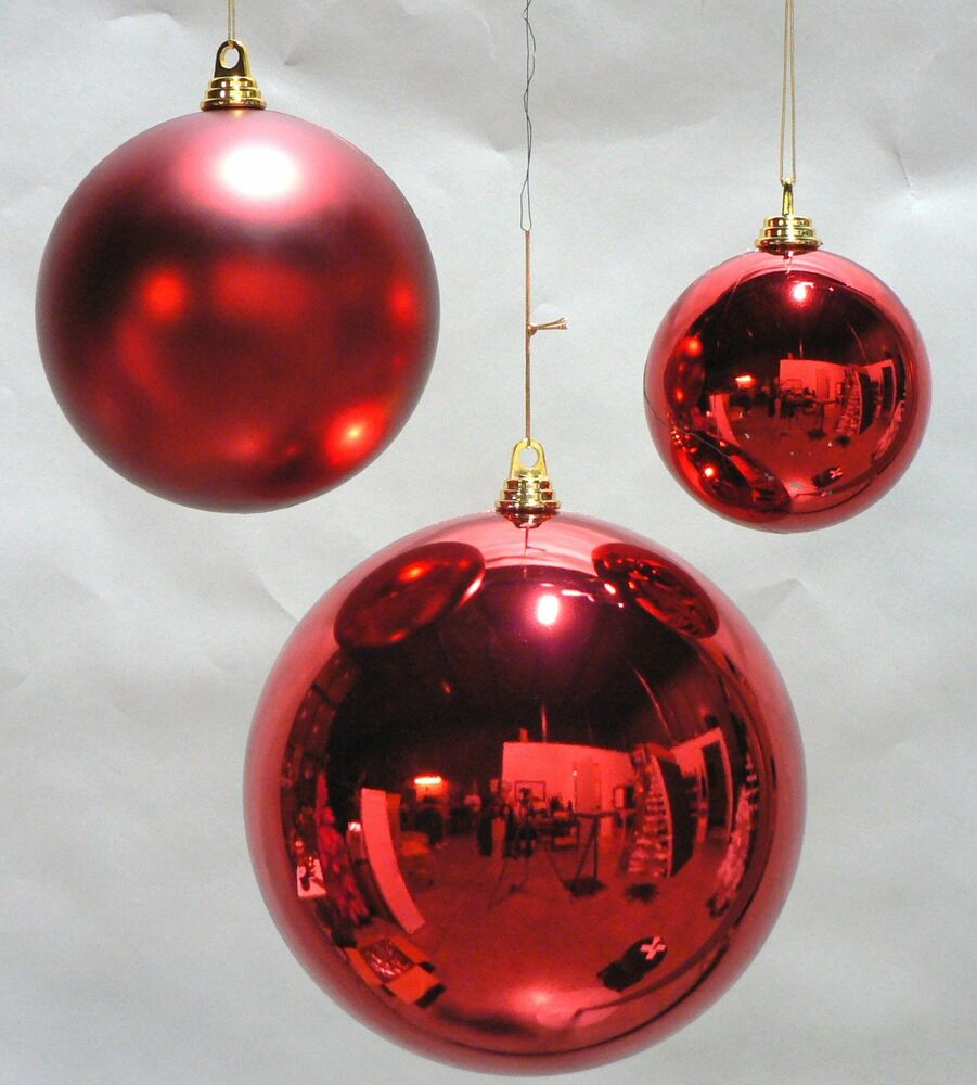 One large oversize red christmas ball plastic shiny 200mm for Christmas holiday ornaments