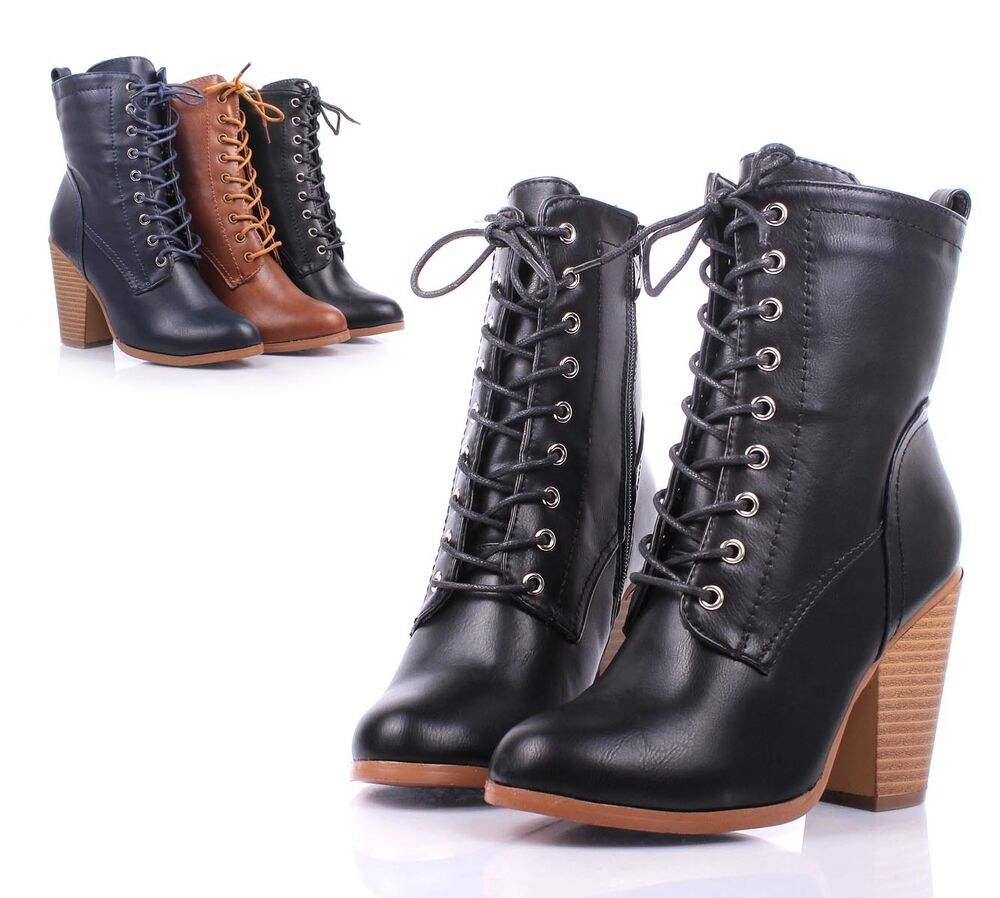Black Faux Leather Lace Up Ankle-High Chunky Heels Womens ...