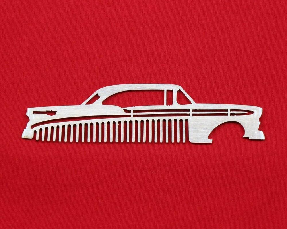 56 1956 chevy brushed stainless steel metal trim beard hair mustache comb ebay. Black Bedroom Furniture Sets. Home Design Ideas