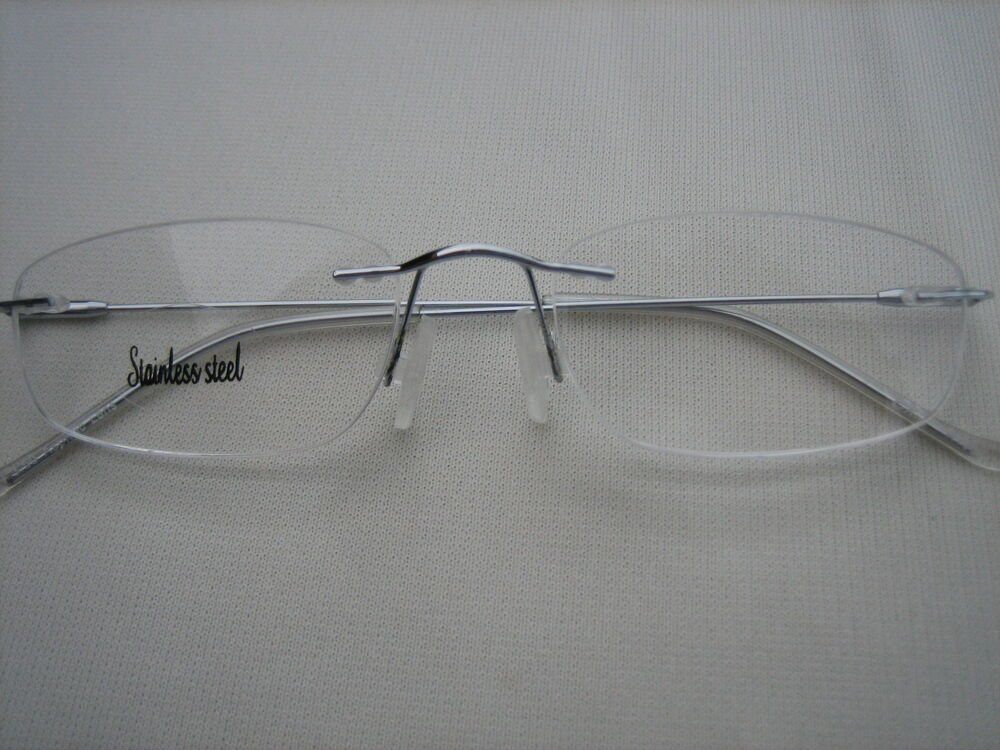 Glasses Invisible Frames : OVAL FRAMELESS READING GLASSES - Almost Invisible 1087 eBay