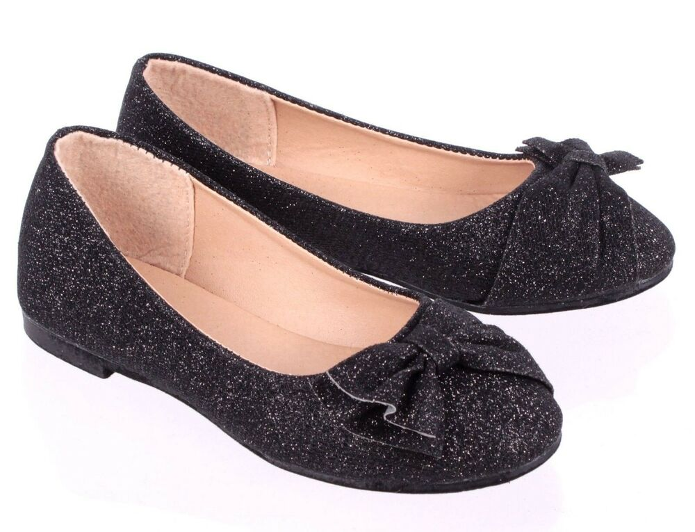 243db8169a49 Details about Black Cute Glitter Bowknot Kids Slip On Girls Flats Youth  Dress Shoes Size 11