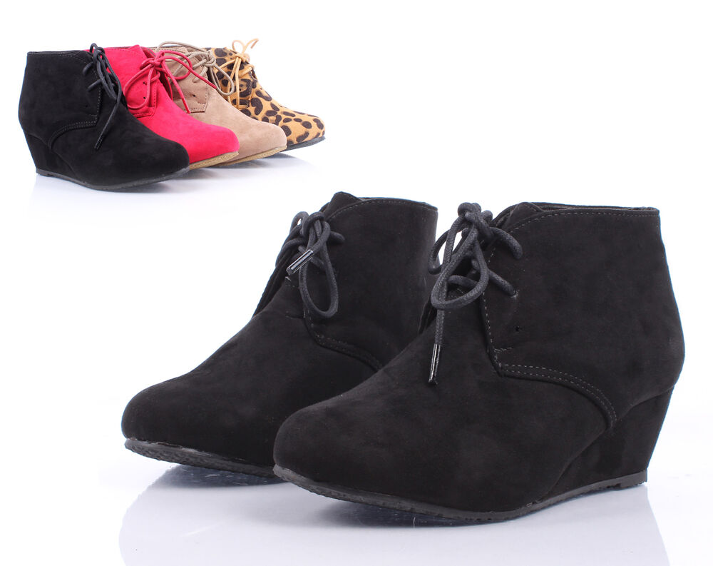 black lace up girls wedge high heels kids ankle boots