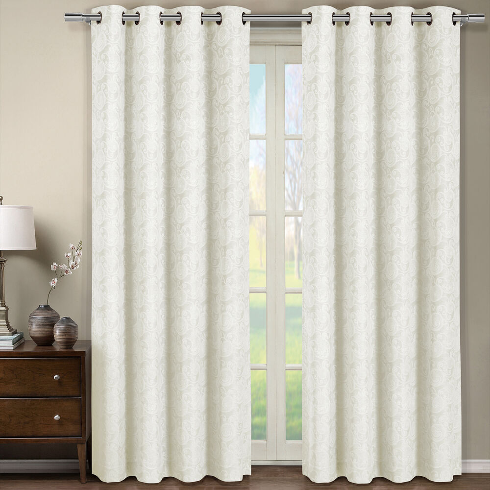 tabitha off white grommet jacquard window curtain panel 54