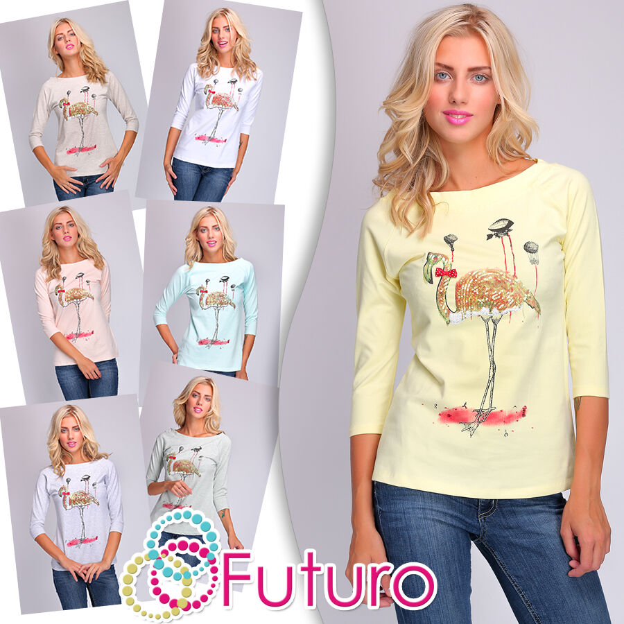 Ladies Casual Sequined Top Flamingo Print Blouse Jumper ...