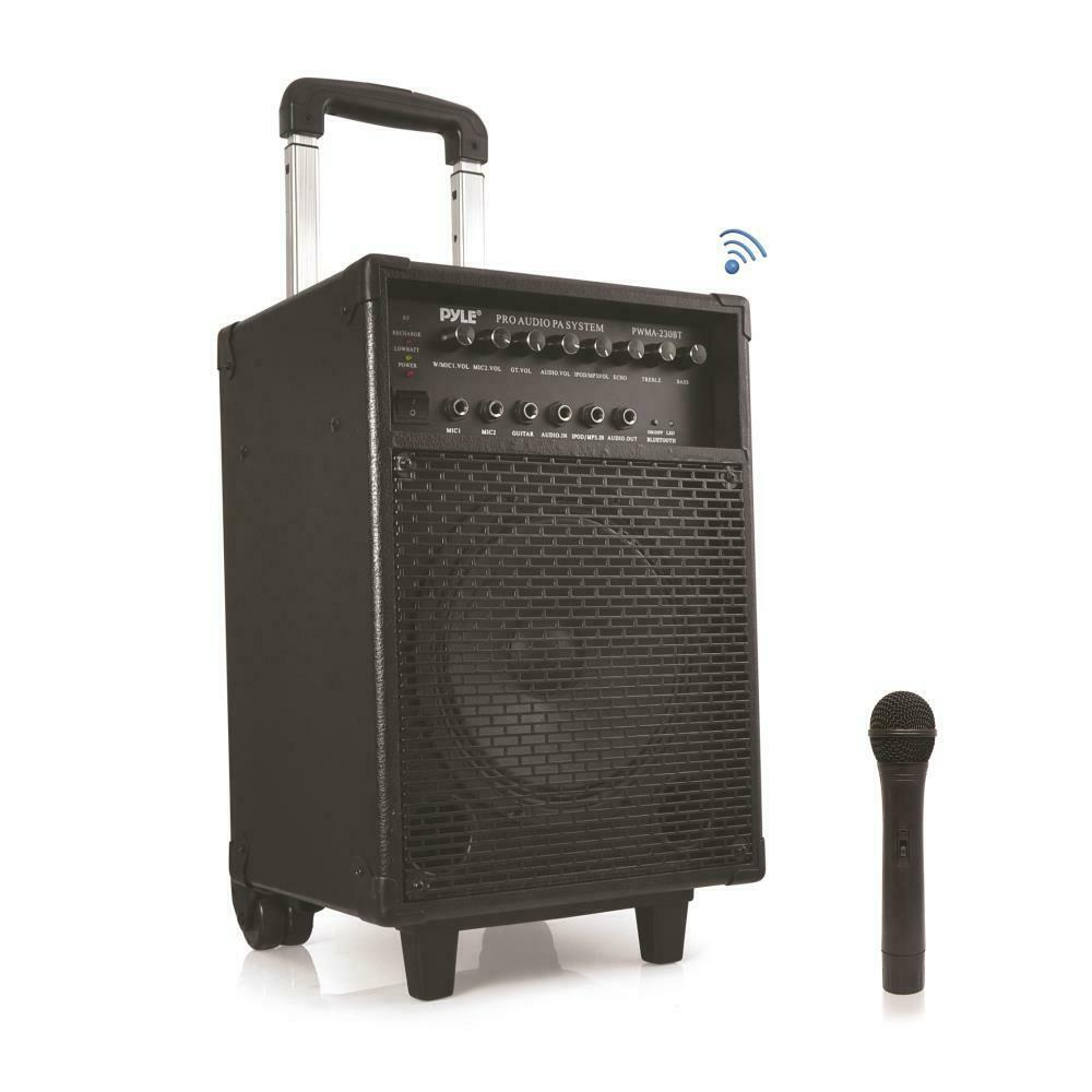 new pyle pwma230bt 400w portable wireless bluetooth pa system with microphone ebay. Black Bedroom Furniture Sets. Home Design Ideas