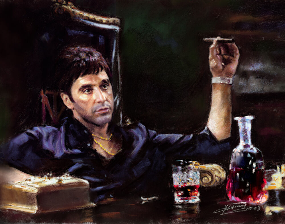 Scarface al pacino chair giclee print on canvas by star for Occhiali al pacino scarface