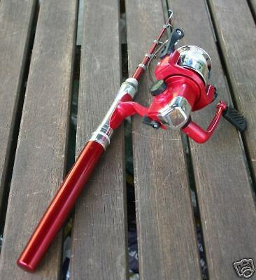 Red mini fishing fish rod pen spin reel pole fly stick ebay for Red fishing rod