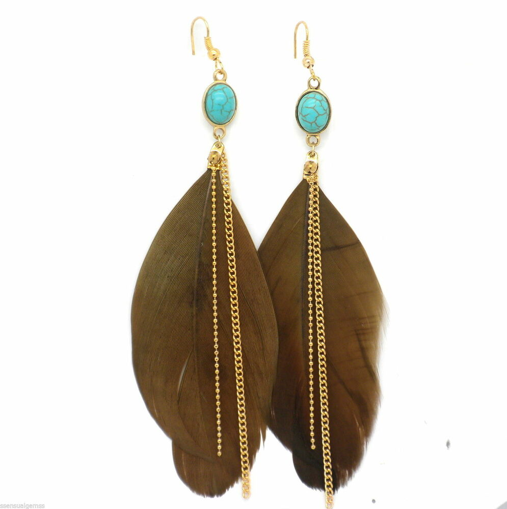 Feather Jewelry: New Brown Feather Earrings Gold Plated Women Pierced 4
