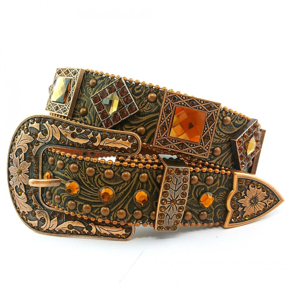 Western cowgirl embossed fall bling rhinestone belt brown for Wholesale cowgirl bling jewelry