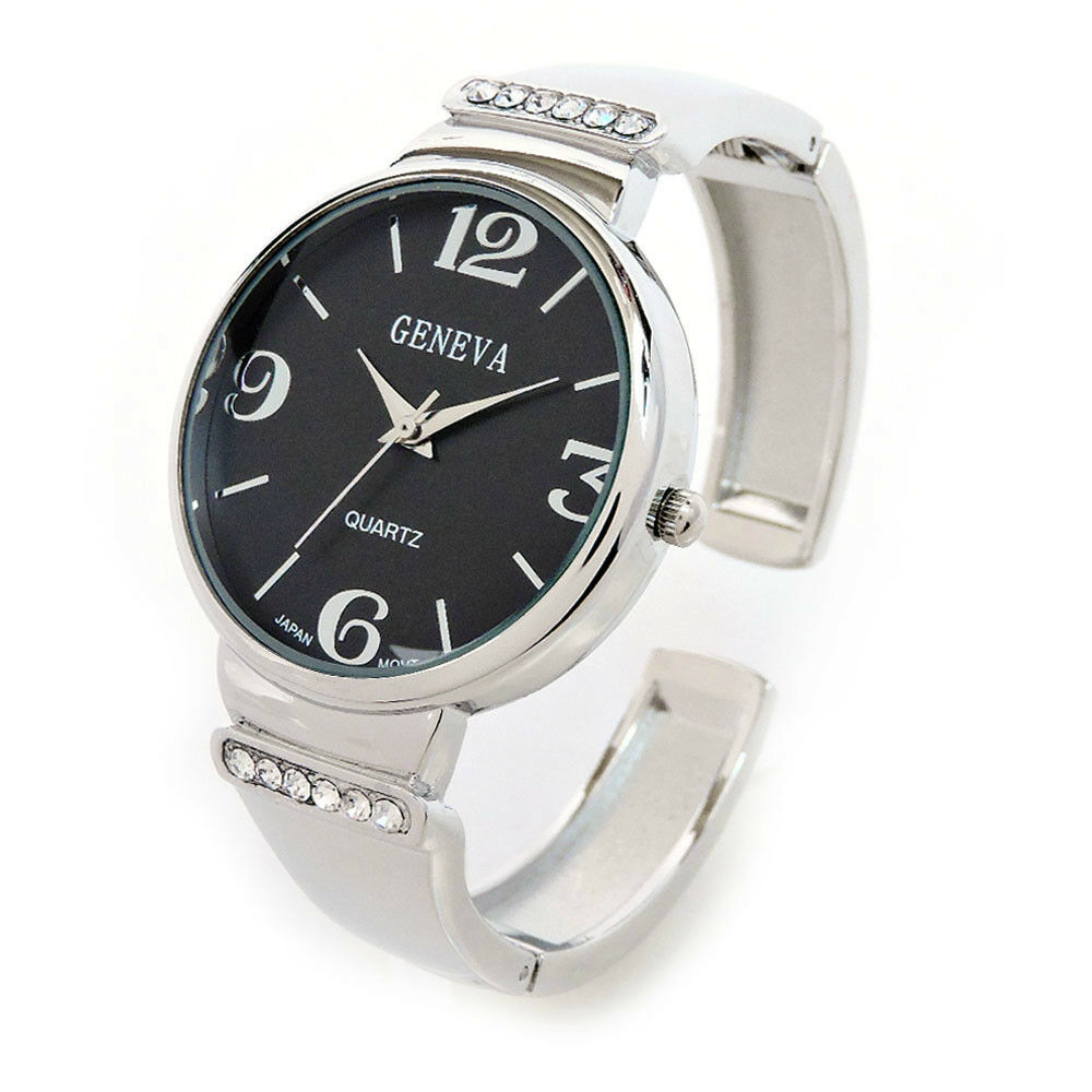 Silver black metal crystal band large face women 39 s bangle cuff watch ebay for Ladies bangle watch