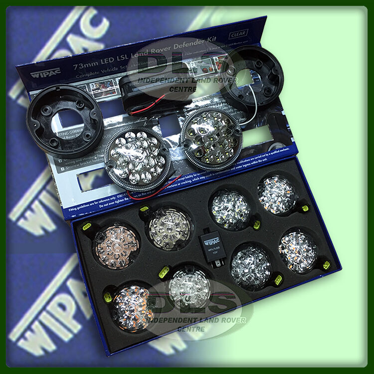 Pair Of Clear Front Indicator Lights For Land Rover: Complete Wipac Clear LED Light Set