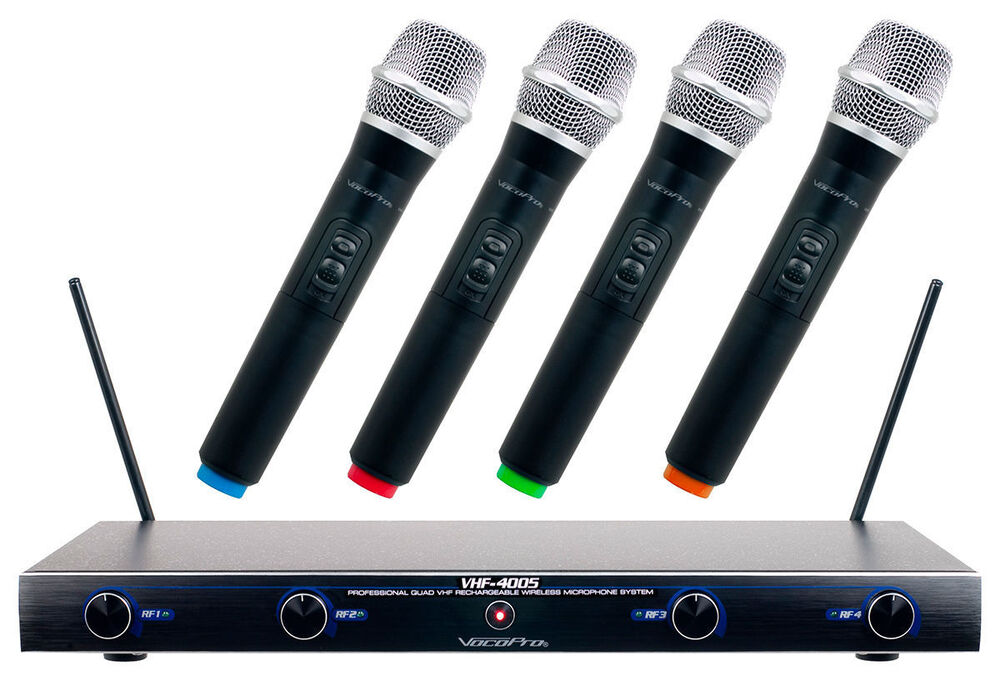 vocopro pro four 4 channel rechargeable vhf wireless microphone system vhf4005 ebay. Black Bedroom Furniture Sets. Home Design Ideas