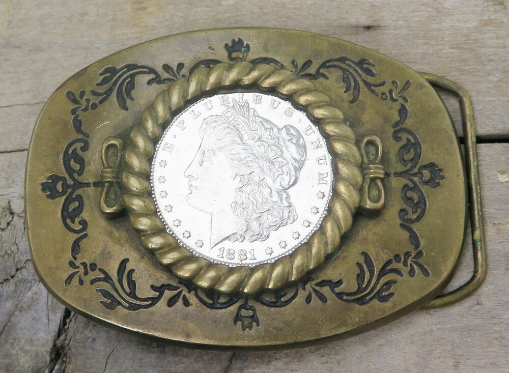 1881 Morgan Silver Dollar Coin Western Brass Baron Buckles