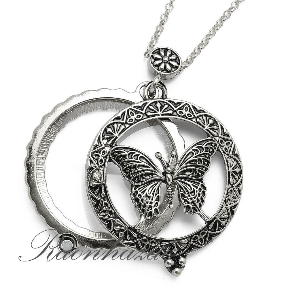 Silver 5x Magnifying Glass Pure Spirit Butterfly Pendant 31 Necklace 05s Ebay