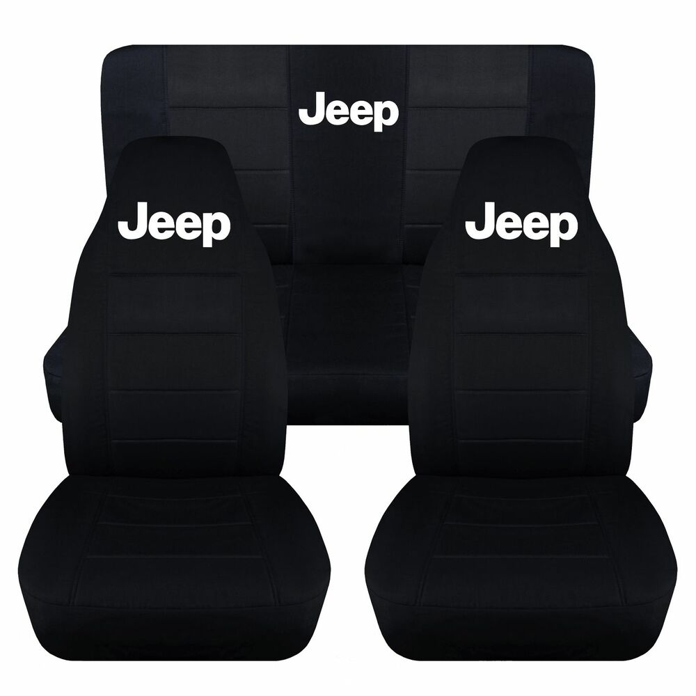 Front And Rear Black Jeep Seat Covers Fit 1997 2002 Jeep