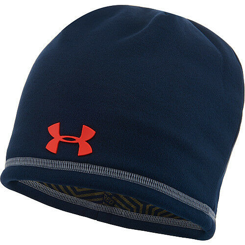 e6976ec0e82 Details about under armour mens coldgear infrared storm beanie hat academy  blue steel osfm