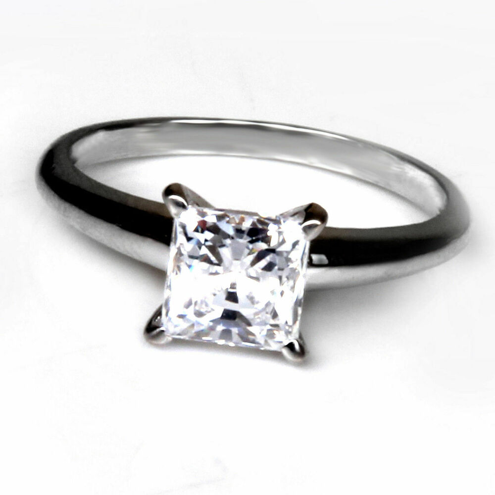 1 8 Ct Square Princess Cut Solitaire Engagement Ring 14K White Gold Stamped