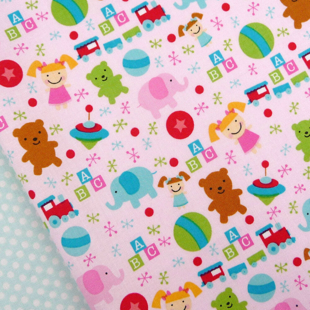 Riley blake santa 39 s workshop pink toys fabric christmas for Nursery fabric uk
