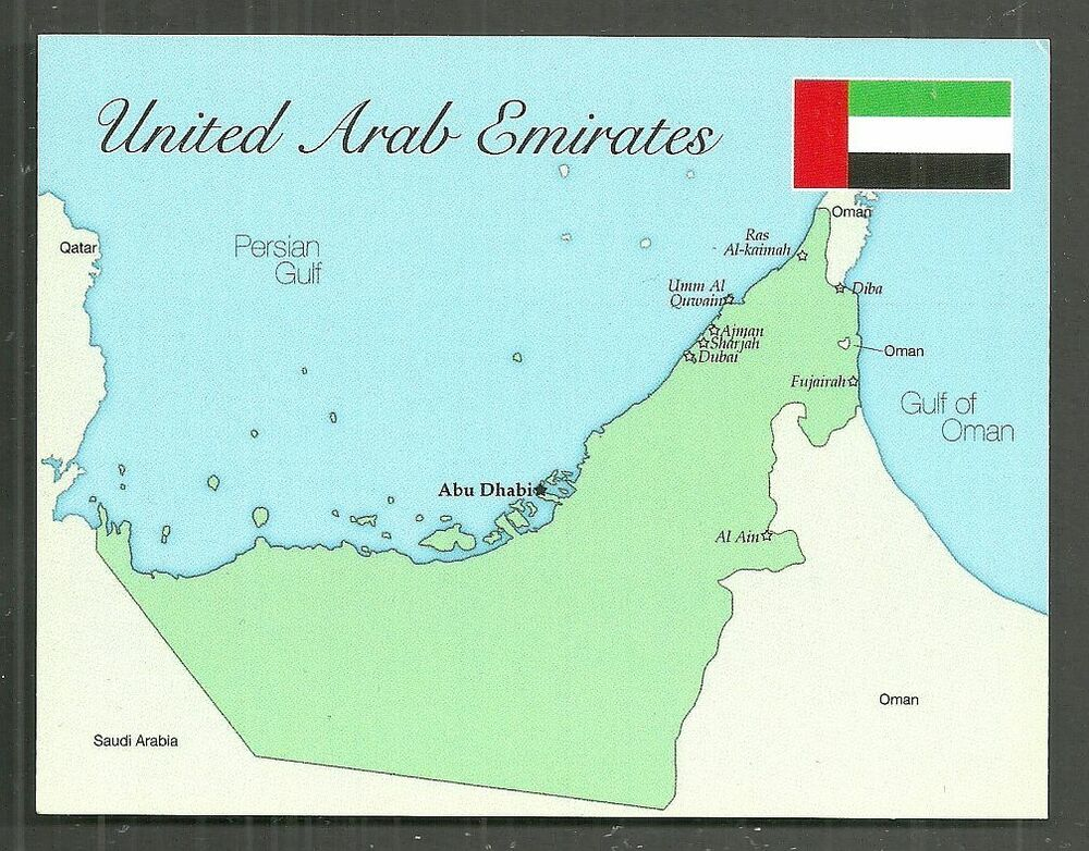 United Arab Emirates Map postcard Abu Dhabi Dubai Sharjah Ajman Flag ...