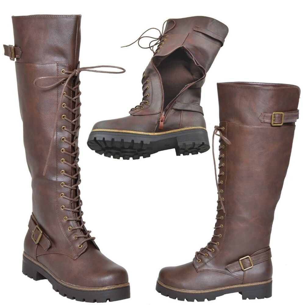 new womens lace up knee high boots accented ankle chain