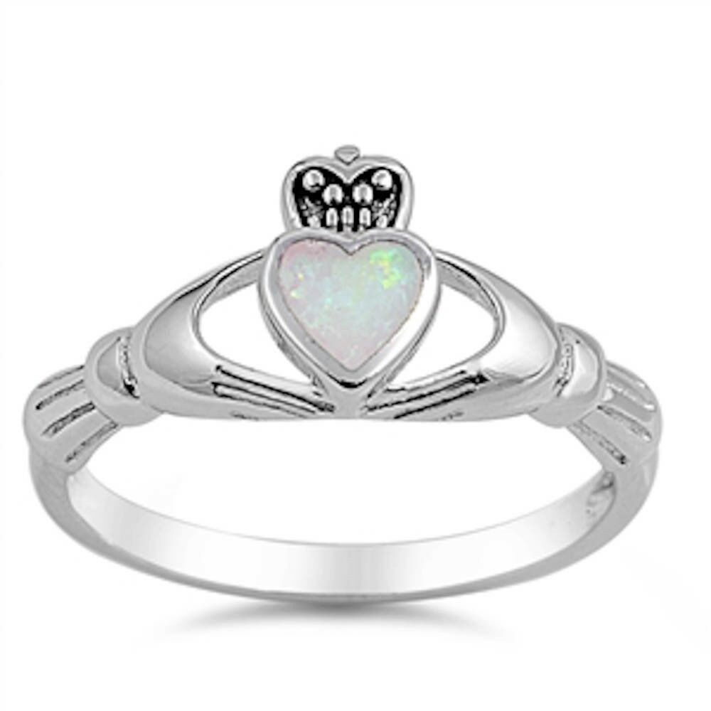 Claddagh White Opal 925 Sterling Silver Ring Sizes 4 10