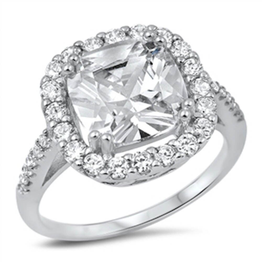 Halo Cushion Cut CZ Engagement Ring 925 Sterling Silver Ring Sizes 5 10