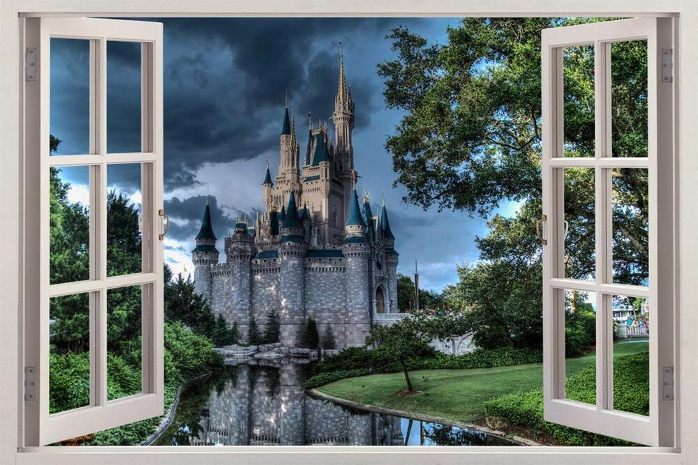 Disney castle at dusk 3d window view decal wall sticker for Castle wall mural sticker