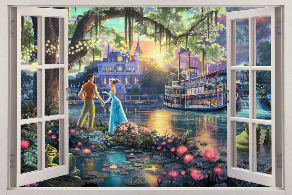 Fantasy princess castle 3d window view decal wall sticker for Castle window mural