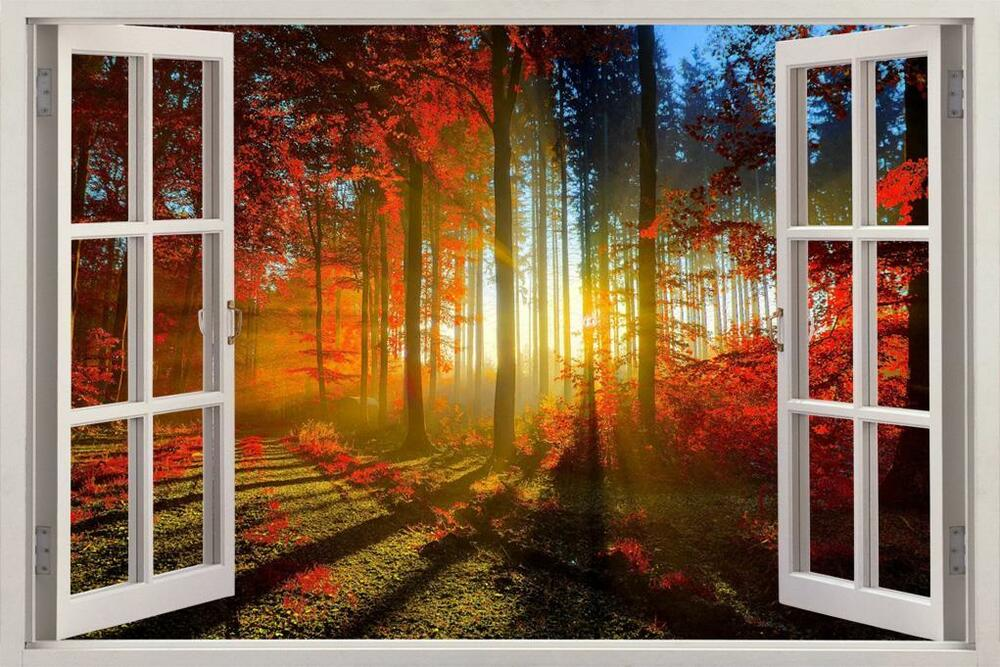 Fantasy Red Forest 3d Window View Decal Wall Sticker Decor