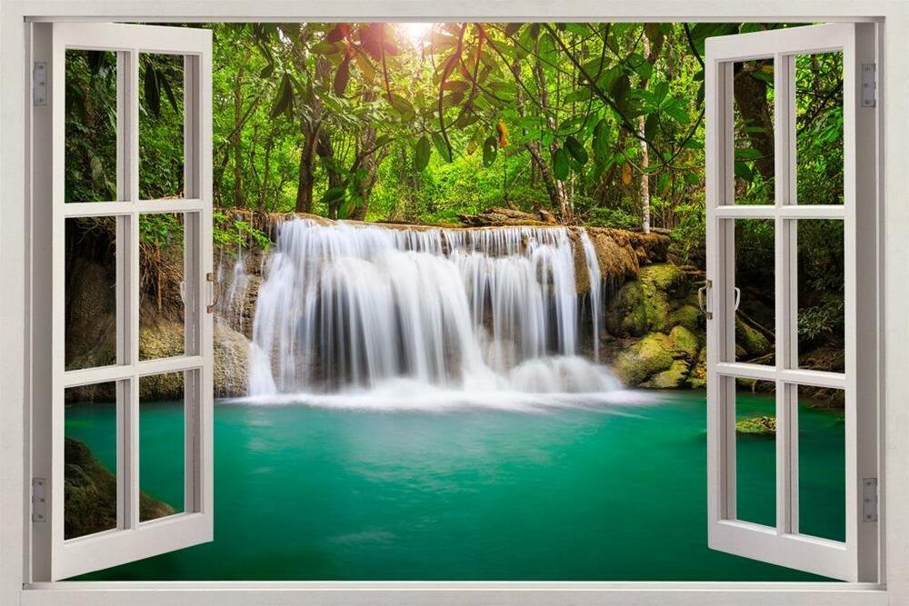 Waterfall Fantasy Forest 3D Window View Decal WALL STICKER